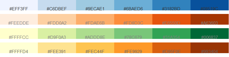 Example Of Four Different Sequential Color Schemes Hex Numbers Are Superimposed On Each Palette
